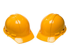 Hard Hats Isolated On White Royalty Free Stock Photos