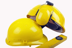 Hard hats and tools Royalty Free Stock Photo