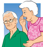Hard of Hearing. Vector Illustration of an elderly woman yelling in her husband's ear Royalty Free Stock Photos