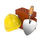 Hard Helmet, Trowel and Bricks. Royalty Free Stock Photography