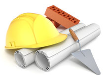 Hard helmet, trowel, bricks and drawings. Engineering concept. 3D Stock Image