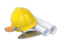 Hard Helmet, Trowel and Drawings. Stock Images
