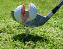 Hard hit. Golf Ball. Motion blurred stock photo