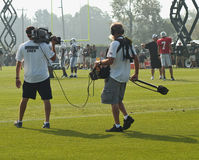 Hard knocks crew filming the ny jets. At their training camp in cortland new york Stock Image