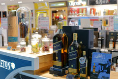 Hard liquor counter in the shop of taipei Royalty Free Stock Photo