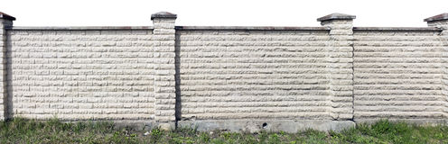 Hard long solid rural fence isolated. Hard long solid rural fence made from aged white bricks. Isolated from top panoramic collage royalty free stock photography