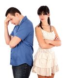 Hard moment. Woman being severe with her boyfriend Royalty Free Stock Photography