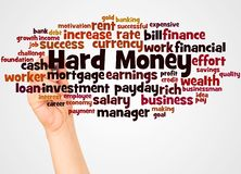 Hard Money word cloud and hand with marker concept stock images
