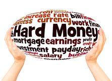 Hard Money word cloud hand sphere concept. On white background royalty free stock photography