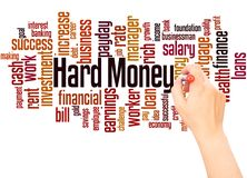 Hard Money word cloud hand writing concept. On white background stock photos