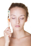 Hard morning. Girl having hard morning and sleeping on a toothbrush stock photography