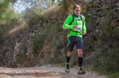 Hard mountain race, friends Royalty Free Stock Photography