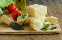 Hard natural parmesan cheese Royalty Free Stock Photos