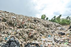 Hard plastic garbage decomposition. Pollution from the consumer society. Hard plastic garbage decomposition. Pollution and management burden Environmental Stock Images