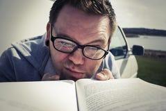 Hard Reading Stock Image