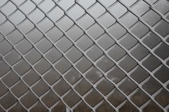 Hard rime on wire mesh fence. forest background royalty free stock images