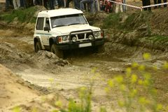 Hard road. Annual off road competition just started Royalty Free Stock Photos