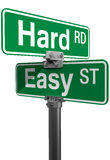 Hard Road Easy Street sign choice Royalty Free Stock Photos