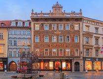 Hard Rock Cafe in art nouveau building in Prague. January 14, 2015 - Prague, Czech Republic: Hard Rock Cafe in an a rt nouveau buildings and people walking in Stock Images