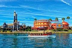 The Hard Rock Cafe and Chocolate Emporium Restaurant at Universal Studio Resort in Orlando, Florida. ORLANDO FL,USA - JANUARY 8, 2019 : The Hard Rock Cafe and royalty free stock images