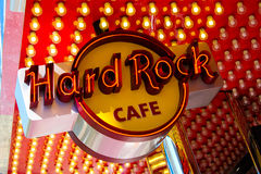 Hard Rock Cafe neontecken, Las Vegas, NV Arkivfoton