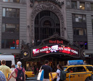 Hard Rock Cafe New York. The colorful neon sign of New York's Hard Rock Cafe Royalty Free Stock Image