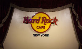 Hard Rock Cafe New York Sign in NYC. New York City, Usa - July 12, 2015:  Hard Rock Cafe New York Sign. Hard Rock Cafe is a chain of theme restaurants founded Royalty Free Stock Photography