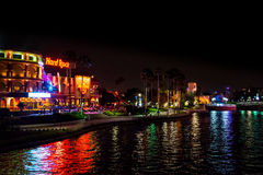 Hard Rock Cafe Orlando at Night. Hard Rock Resturant outside the entrance to Universal resort in Orlando Florida stock image