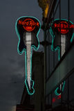 Hard rock cafe guitar in Seattle. View on the illuminated guitar sign of the hard rock cafe in Seattle (WA, USA&#x29 Royalty Free Stock Photography