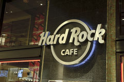 Hard Rock Cafe Sign. A shot of a metallic hard rock cafe sign Royalty Free Stock Photo