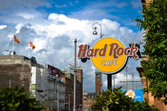 Hard Rock Cafe Sign in Copenhagen, Denmark Royalty Free Stock Photography