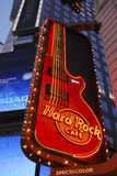 Hard rock cafe sign, New York. The impressive guitar street sign, of the Hard rock cafe, in Times square, New York Stock Photography