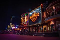Hard Rock Cafe Signs and colorful guitar on european style builCitywalk at Universal Studios area 2 royalty free stock photography