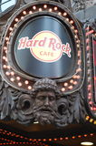 Hard Rock Cafe in Times Square in New York City. Logo on the sign of the Hard Rock Cafe in Times Square in New York City Stock Image