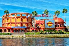 The Hard Rock Cafe at the Universal Studio Resort in Orlando, Florida. ORLANDO FL,USA - JANUARY 8, 2019 : The Hard Rock Cafe at the Universal Studio Resort in stock photo