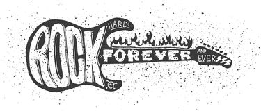 Hard rock guitar. Cool grunge hand drawn electric guitar with distorted text in it. Rock Forever. EPS10 vector image Stock Images