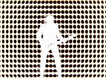 Hard rock guitarist. A rocker  guitarist  over a point backround Stock Photos