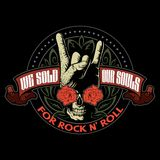 Hard rock, heavy metal, sign of the horns, rock sign hand with the skull, roses and ornaments, rock vector logo. Hard rock, heavy metal, sign of the horns, rock Stock Image