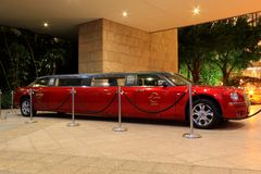 Hard Rock Hotel red limo at Macau Royalty Free Stock Photo