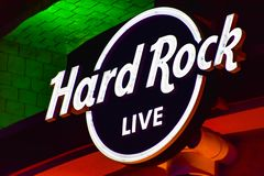 Hard Rock Live logo on colorful background at Universal Studios area.