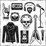 Hard rock and metal music attributes elements. Hard rock and metal music attributes set of vector black objects, design elements in vintage style  on background Stock Photo