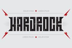 Hard Rock - music poster with red lightnings and stars. Hardrock. T-shirt design. T-shirt apparels cool print Stock Photos