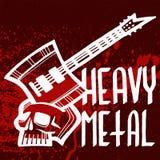 Hard Rock-Musik-Ausweisvektor-Weinleseaufkleber mit Aufkleberdruck-Emblemillustration des miserabelen roten Symbols harter solide Lizenzfreie Stockfotografie