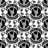 Hard Rock-Musik-Ausweisvektor-Weinleseaufkleber mit hartem solidem Aufkleberemblem des Punknahtlosen Musterhintergrundes des schä Stockfotografie