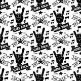 Hard Rock-Musik-Ausweisvektor-Weinleseaufkleber mit hartem solidem Aufkleberemblem des Punknahtlosen Musterhintergrundes des schä Lizenzfreie Stockfotos