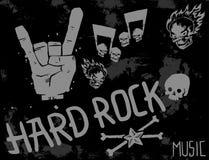 Hard Rock-Musik-Ausweisvektorhintergrund-Weinleseaufkleber mit Aufkleber-Emblemillustration des Punkschädelsymbols harter solider Lizenzfreies Stockfoto