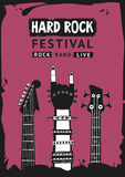 Hard rock poster. Hard rock festival. Poster template with a hand and guitars. Grunge style Stock Photography