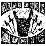 Hard rock t-shirt design. Black vector illustration hand with gesture rock and lightning discharges on abstract grunge background. Inscription hard rock music Royalty Free Stock Images