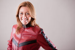 Hard rock woman in red leather jacket Stock Photo