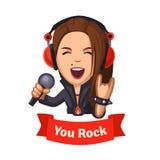 Hard rocking singer girl Stock Image